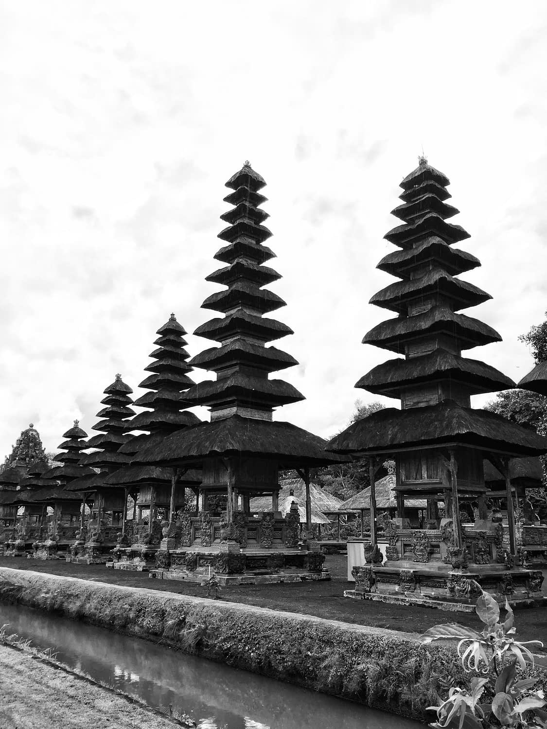 Black and white image of temple in Bali