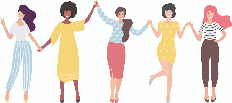 illustration of 5 women holding hands celebrating friendships